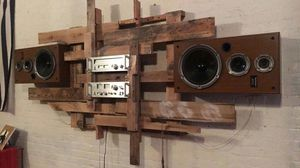Customized wall mounted stereo rack. With vintage Fisher/Studio-standard receiver and radio. Technics sb-cr77 speakers for Sale in Detroit, MI