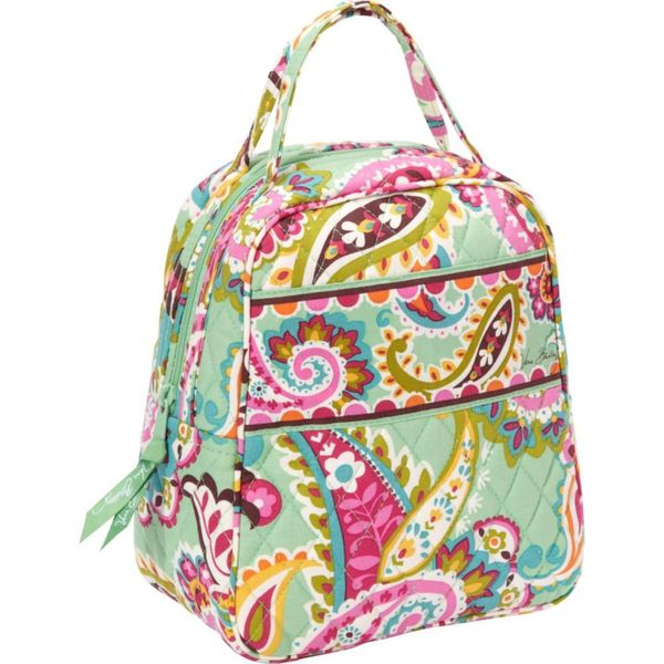 cd4194aaa9 Like New  Vera Bradley TuTTi FruTTi GrEEN PINK Paisley Lunch Bunch Box Bag