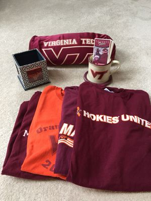 VT items. Mug with coaster, pillow, pencil / photo box , t- shirts S/M for Sale in Centreville, VA