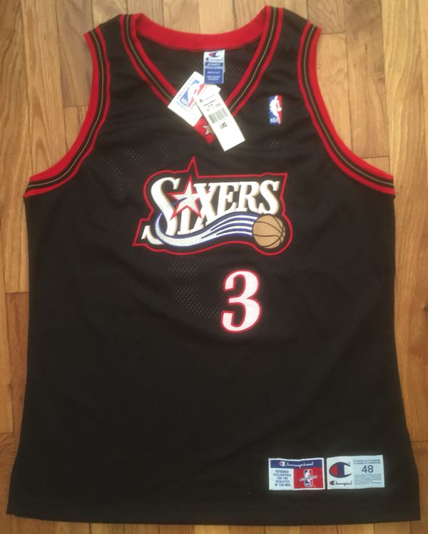 NWT Authentic 1997-1998   97-98 Champion Philadelphia 76ers Sixers Allen  Iverson Away - Black   Red   White - Jersey size 48 b05a97893