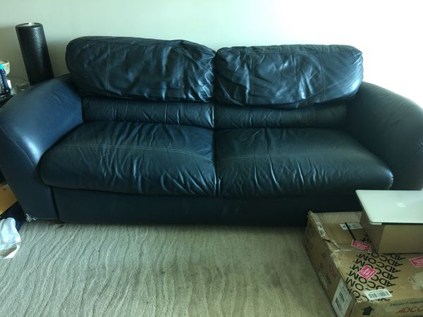 Dark blue leather sofa for Sale in Las Vegas, NV - OfferUp
