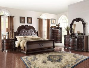New hot price dark cherry color queen-size complete bed dresser mirror nightstand chest for Sale in Berwyn Heights, MD