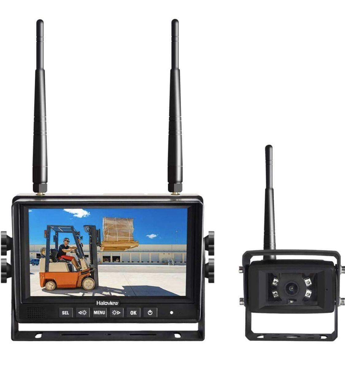 Haloview MC7101 Digital Wireless Backup Camera System Kit 7'' LCD Reversing Monitor and IP69K Waterproof Rear View Camera Built in DVR For Truck/Trai