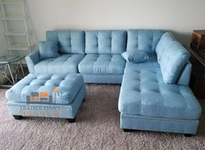 Brand New Light Blue Linen Sectional Sofa Couch + Ottoman for Sale in Chevy Chase, MD