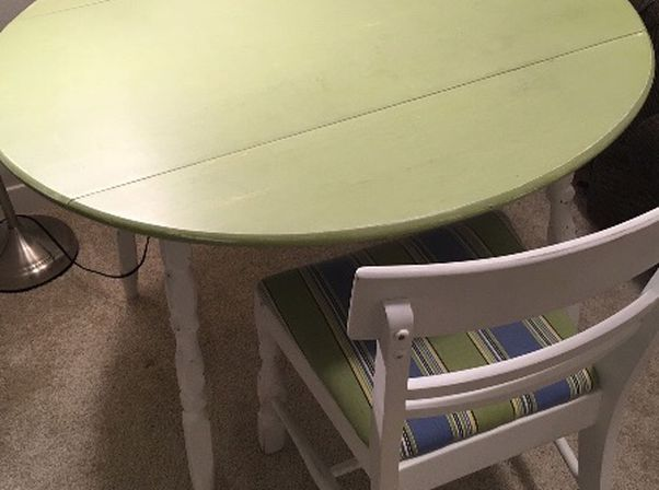Antique Folding Dining Table or Office Desk and 2 Chairs