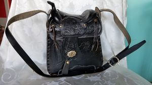 Black Leather Saddle Purse, Hecho en Mexico for Sale in Victoria, VA