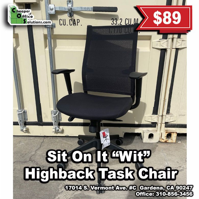 """Sit On It """"Wit"""" Black High Back Task Chair"""