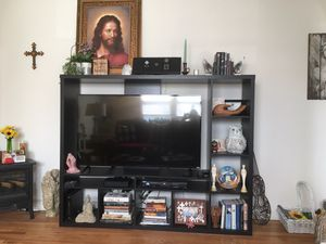 Photo TV wall unit, holds 60 inch TV
