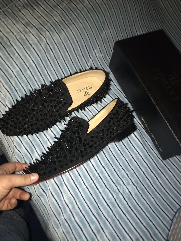 20bfcdd193eb Men FERUCCI Black Spikes Slippers Loafers Flat With Black Crystal GZ  Rhinestone for Sale in San Jose
