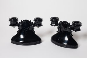 Pair of Black Amethyst Glass Candle Holders for Sale in Los Angeles, CA