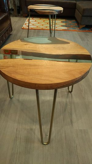 Resin and walnut coffee table for Sale in Washington, DC