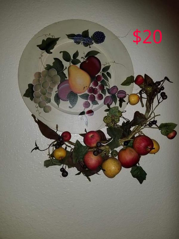Home Interiors Wall Plate With Fruit Swag