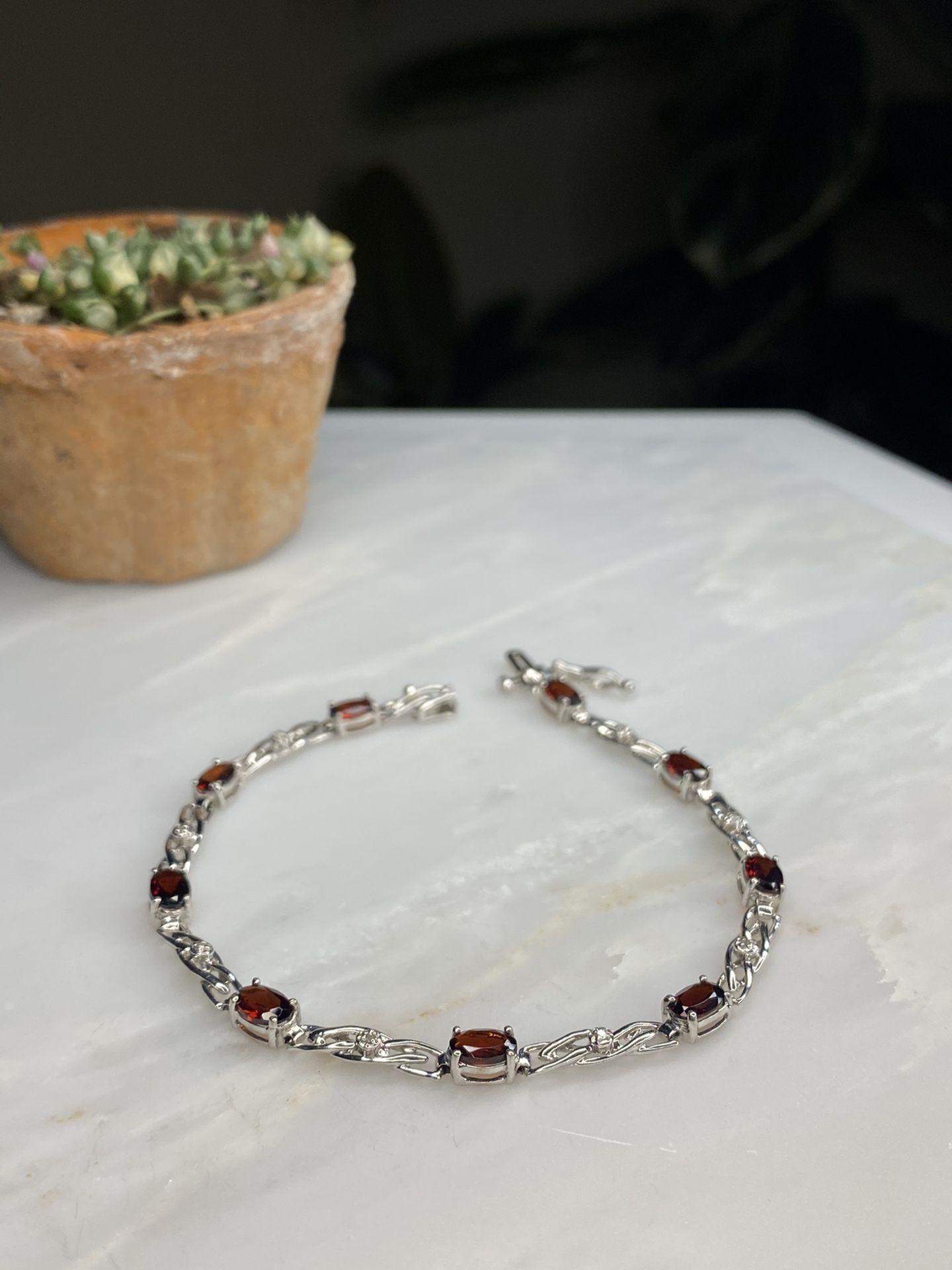Real 10kt White Gold Garnet & Diamond Bracelet