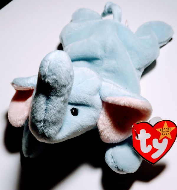 5377996844b PEANUT The Elephant Ty 1995 Beanie Baby Light Blue 1st Edition With Tag  Errors Mint With Mint Swing Tag