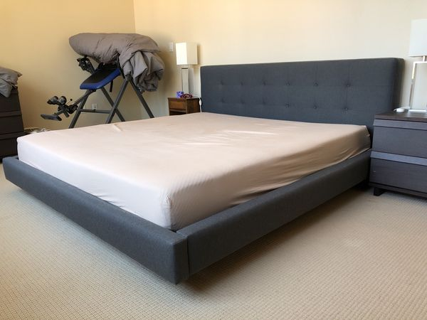 Crate And Barrel Tate Charcoal King Size Bed Mattress Not Included