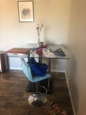 Photo Glass Counter height table with chairs