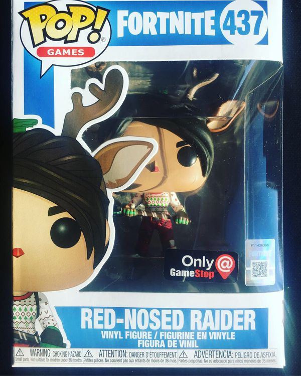 funko pop red nosed raider 437 fortnite game stop exclusive with pop protector - red nosed raider fortnite pop