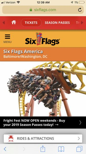 Six flags America 4 tickets valid before 29 October for Sale in Lake Ridge, VA