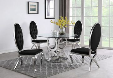 5 PCS Victorine II Collection Dining set-available in 3 colors-available also with gold frame $1,879.00 Hot Buy! Free Delivery 🚚 Thumbnail