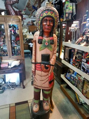 Vintage hand carved wood cigar Indian chief for Sale in Austin, TX