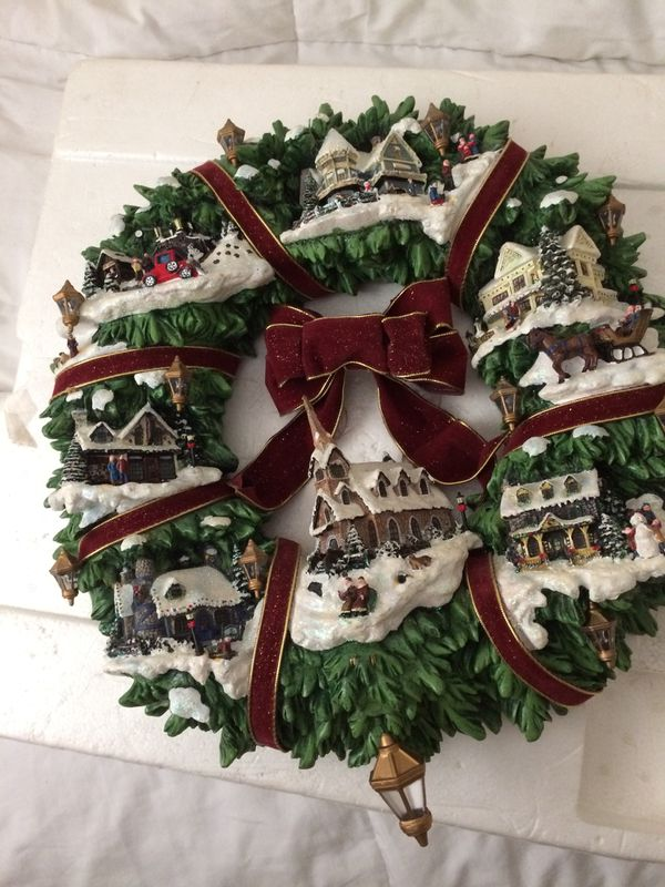 Thomas Kinkade Xmas Wreath Lighted For Sale In Jupiter Fl Offerup