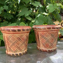 Mexican Clay Planter Pot (2 Pieces ) Thumbnail