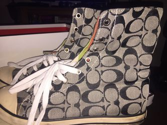Coach Tennis shoes high tops. Size 8.5 in very good condition. $60.00. Thumbnail