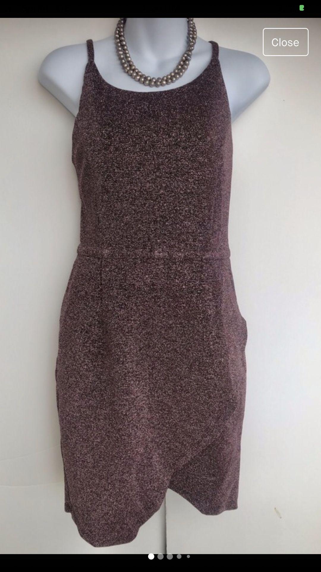 Metallic Dark Plum Cocktail Dress
