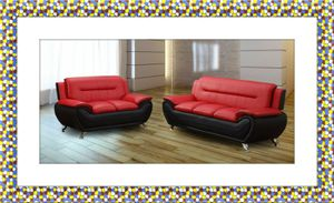Black/red sofa and love seat two tone free shipping for Sale in Hillcrest Heights, MD