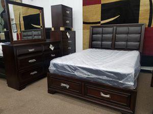 Espresso color storage queen-size complete bedroom set for Sale in Takoma Park, MD