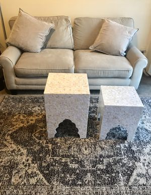 """Living room furniture set large beige microfiber sofa 70x35 with 2 pillows 2 handcrafted mosaic tables 5x7"""" beige brown rug new for Sale in MONTGOMRY VLG, MD"""