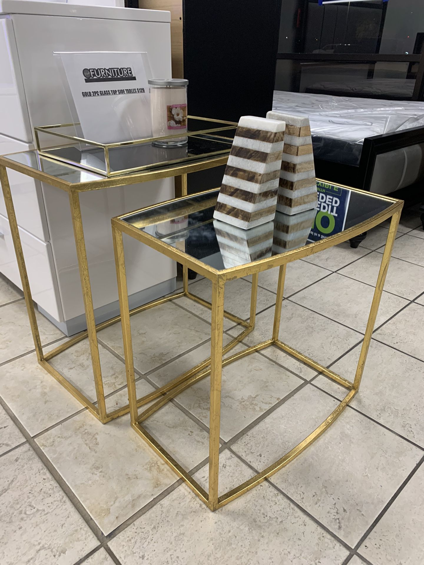 Gold Accent Side Table Set