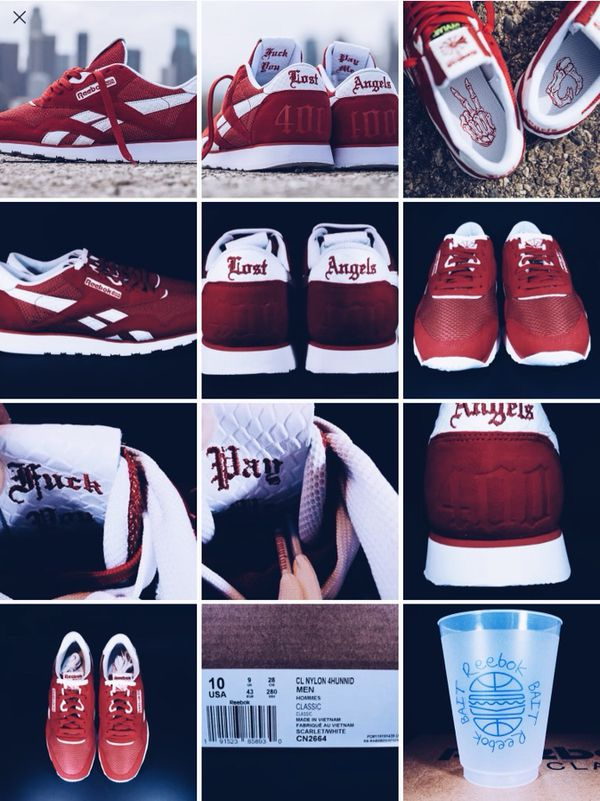 f3d009d260cc8 SIZE 10 - Bait ❌ Reebok ❌ YG Blassic 4Hunnid Scarlet   White Classic - Lost  Angels