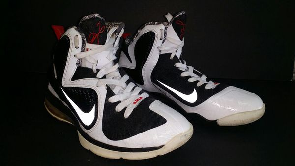 Nike LeBron 9 IX Freegums White Black Sport Red S 8.5 469764-101 ... 50631d98b