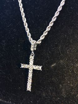 EXCLUSIVE CROSS 18K GOLD FULL DIAMONDS CZ NEW ROPE CHAIN MADE IN ITALY! Thumbnail