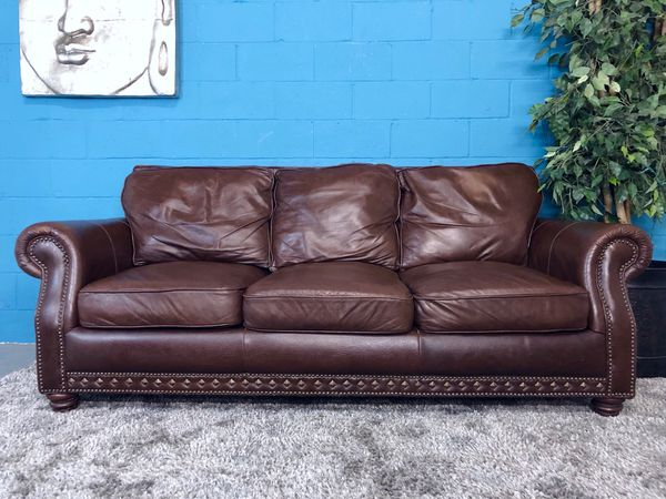 ***Brown Genuine Leather Sofa (Free Delivery) for Sale in Atlanta, GA -  OfferUp