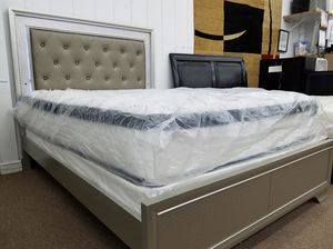 $379 silver finish LED lighted headboard queen size bed frame only for Sale in Washington, DC