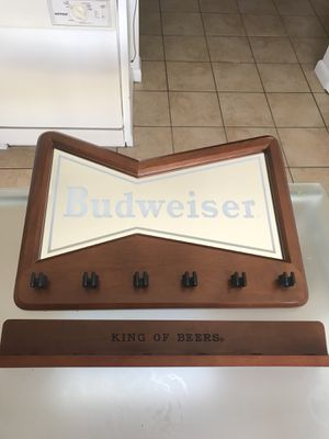Budweiser real wood pool table stick stand mirror for Sale in Orlando, FL