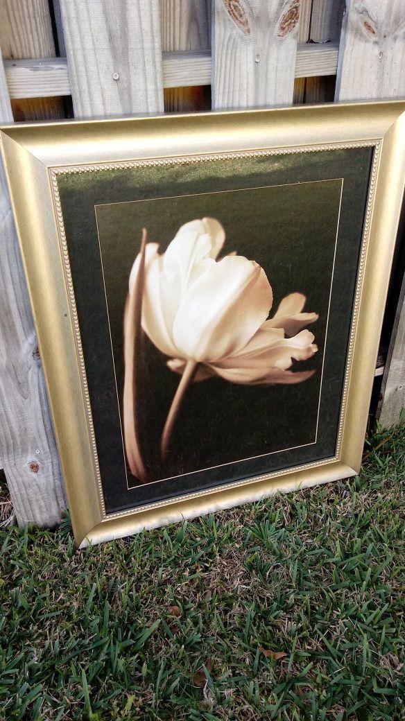 Beautiful Pain gold trim white flower magnificent.