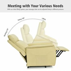 400W24 //  Electric Power Lift Massage Sofa Recliner Vibrating Chair w/Remote Control Beige Thumbnail