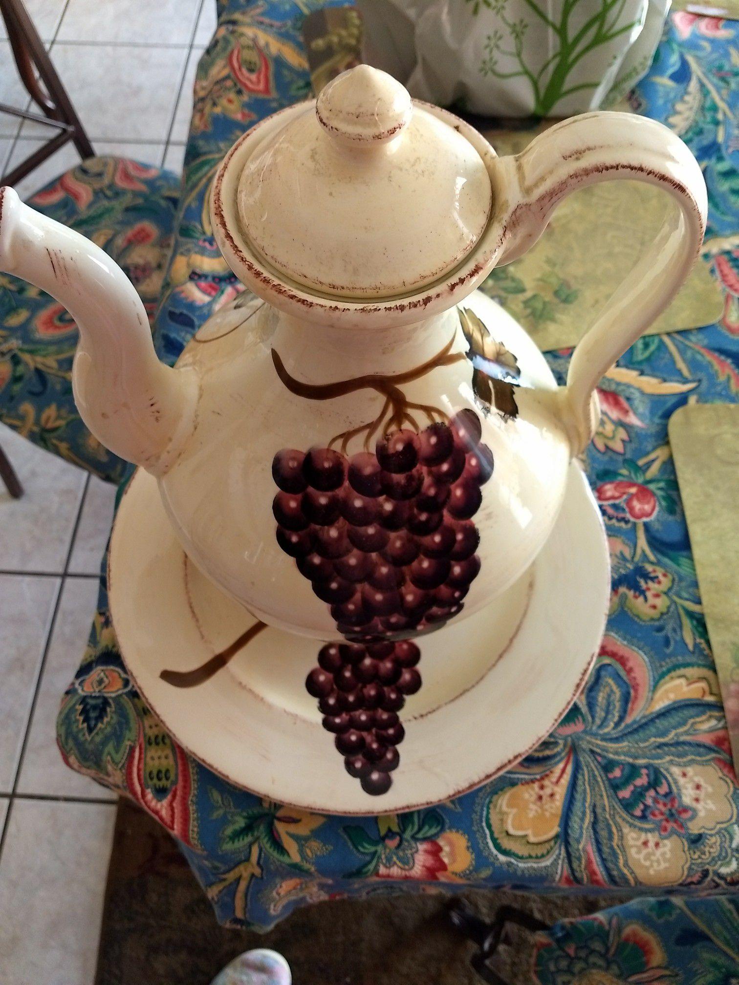 Set de jarron y platon de ramo de uvas
