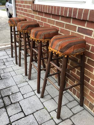 Vintage oak stools - set of 4 for Sale in Vienna, VA