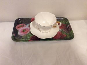 Tea cup with floral plastic tray for Sale in Alexandria, VA