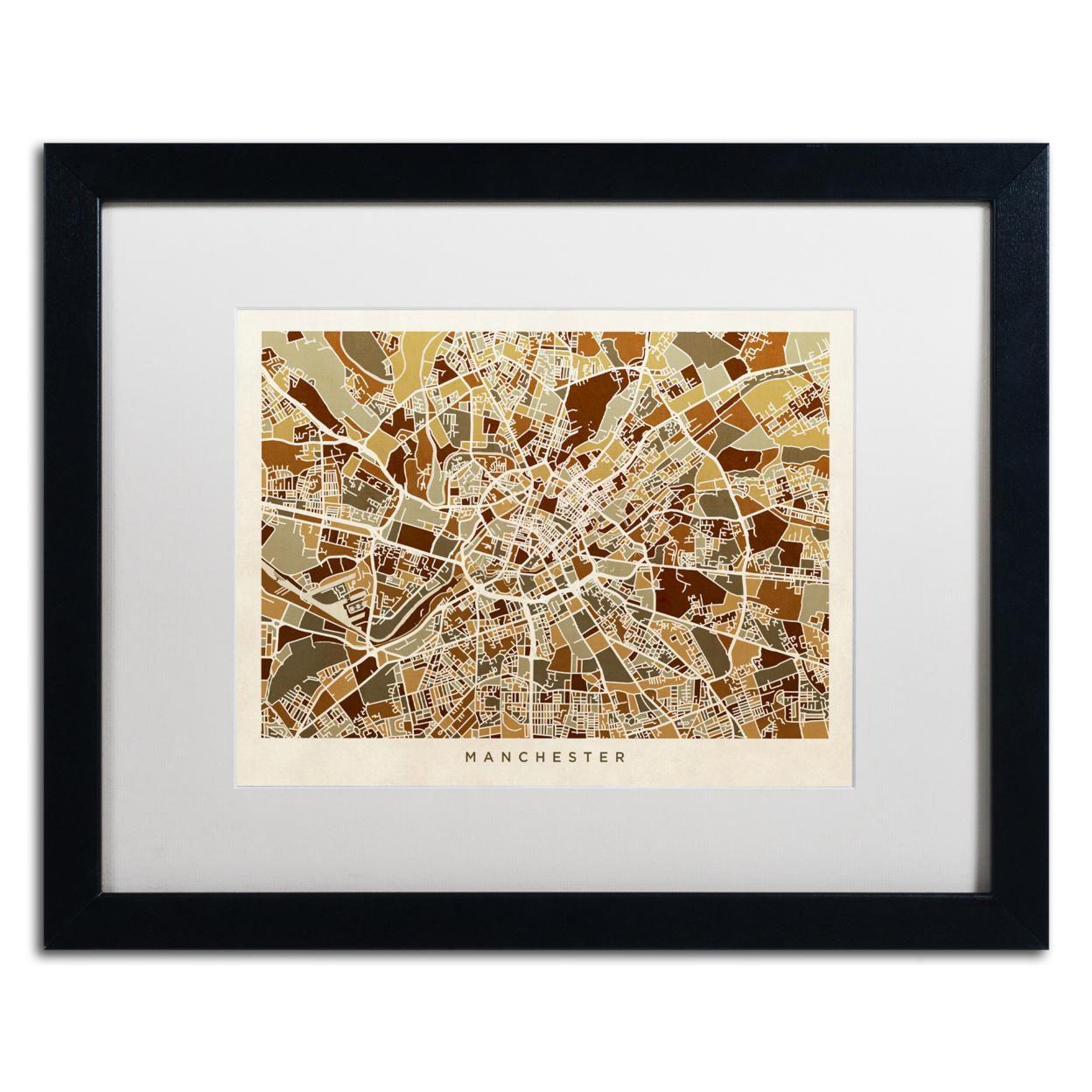 Michael Tompsett 'Manchester England Street Map II' Black Wooden Framed Art 18 x 22 Inches