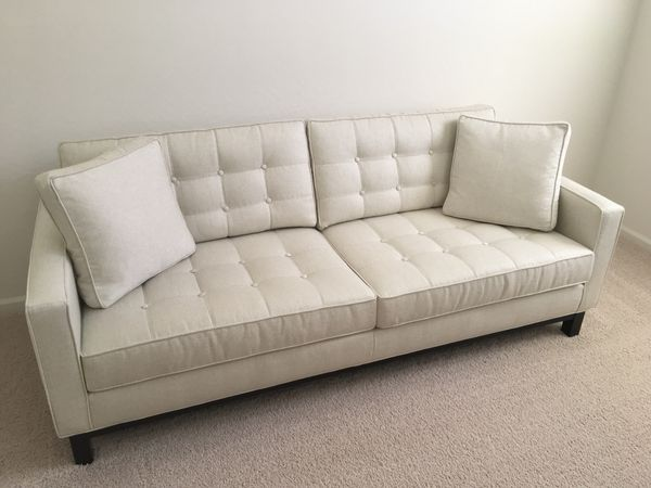 Custom Ethan Allen Melrose Sofa Eva Snow Color For Sale