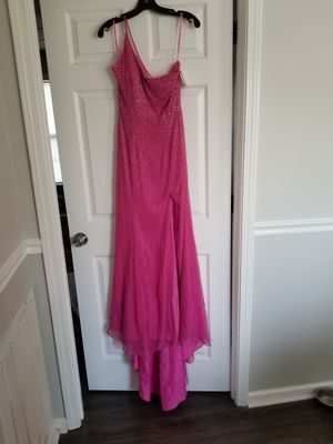 Coral One Shoulder Bdazzle Gown With Shawl Promformal Size 6