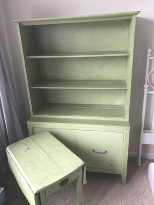 Distressed Antique Bookshelf And Side Table For Sale In Raleigh NC