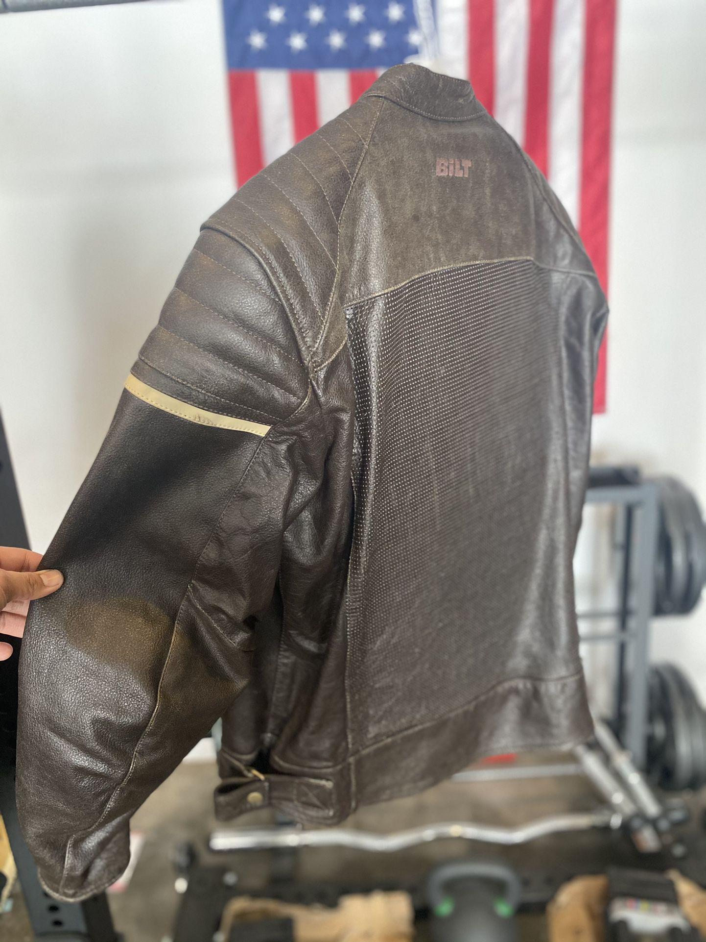 Bilt Leather Jacket Brown size MED