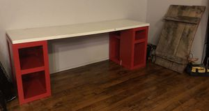 """IKEA White 77"""" White Kitchen/Desk Tabletop WITH 2 Red Storage Cubes for Sale in Cleveland, OH"""