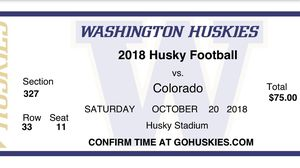 Husky football tickets 10/20/18 for Sale in Puyallup, WA